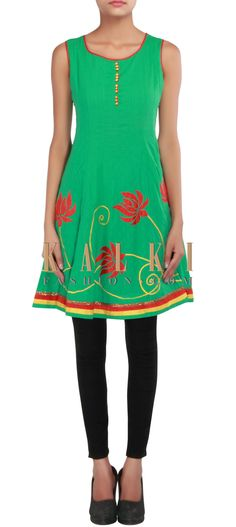 Buy Online from the link below. We ship worldwide (Free Shipping over US$100) http://www.kalkifashion.com/green-kurti-embellished-in-applique-work-only-on-kalki.html
