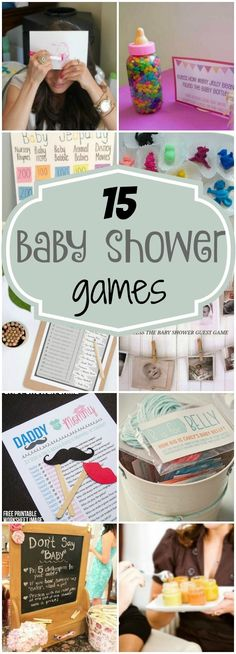 15 Entertaining Baby Shower Games via Pretty My Party Babyshower Game Ideas, Baby Shower Party Games, Baby Shower Guessing Game, Baby Shower Foods, Baby Boy Shower Games, Baby Shower Jeopardy, Diaper Party Games, Baby Shower Diaper Game, Baby Shower List