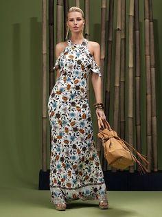 Basma Elbise Modelleri Beyaz Uzun Halter Yaka Fırfır Detaylı Desenli
