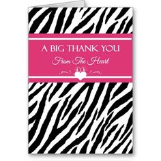 A trendy pink and black thank you card with a modern zebra print and hot pink accents, decorated with a stylish white heart and filigree swirls. Front text reads:A big thank you from the heart.