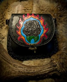 DISCOUNTED Black Rose Leather Purse by EastCoastLeather on Etsy