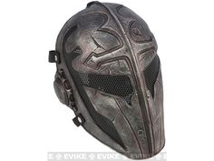 "Evike.com R-Custom Fiberglass Wire Mesh ""Templar"" Mask - Black, Tac. Gear/Apparel, Head - Masks (Full) - Evike.com Airsoft Superstore"