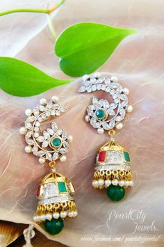 American Diamond and Ruby Earrings | PearlCity Jewels | Victorian Earrings, Peacock earrings, Indian earrings, Jhumki, Finger rings, Bracelets