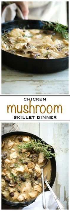 Easy chicken and mushroom skillet dinner, with fresh rosemary - Foodness Gracious