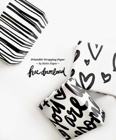 free printable wrapping paper in black and white: