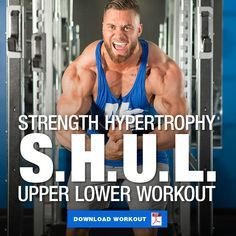 Modified Strength Hypertrophy Upper Lower (S.L) Workout Build both size and strength in this 4 day split that incorporates both strength training and hypertrophy training. It's truly the best of both worlds. Workout Splits, Aerobics Workout, Jump Workout, Emom Workout, Pooch Workout, Ripped Workout, Strength Training Program, Strength Workout, Strength And Conditioning Workouts