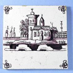 Antique Delft Dutch Tile Manganese 18th 19thC Church 18 | eBay