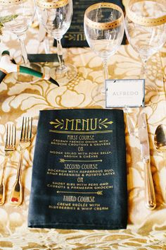 1920s Art Deco Great Gatsby Party wedding gold napkins menu roaring 20s black vintage www.tablescapesbydesign.com https://www.facebook.com/pages/Tablescapes-By-Design/129811416695