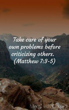 Criticism- Matthew 7:3-5