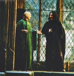 Alan Rickman and Ralph Fiennes on the set of 'Harry Potter and the Deathly Hallows'