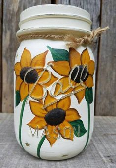 Sunflower Ball Mason, Painted Mason jars, Fall Mason jar DecorYou can find Painted jars and more on our website.