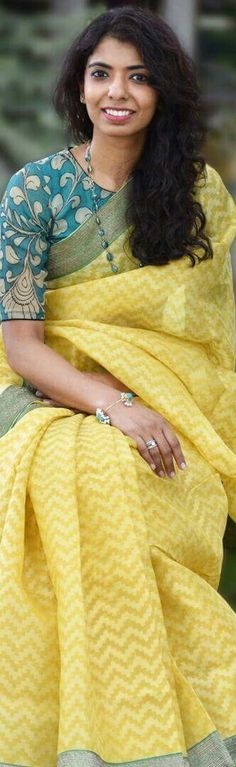 #Teal#Kalamkari                                                                                                                                                                                 More Saree Blouse Patterns, Saree Blouse Designs, Indian Attire, Indian Ethnic Wear, Indian Wedding Outfits, Indian Outfits, Wedding Dress, Simple Sarees, Elegant Saree