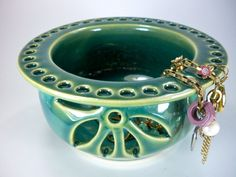 Jewelry Bowl  Earring Holder with Flower by JulieKnowlesPottery, $42.00