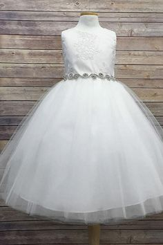 New Flower Girls Ivory Lace Tulle Dress First Communion Wedding Party Formal 306