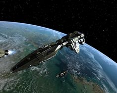 """alienspaceshipcentral: """"What an amazing image, shimmering starship in high earth orbit """""""