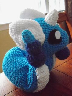 An amigurumi doll of the Pokemon Dragonair. This was a commission, and I'm still taking orders. Note me if you're interested. I can make almost anything.