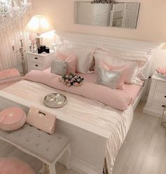 4 Amazing Useful Tips: Girls Bedroom Remodel Attic Spaces small bedroom remodel ideas.Small Bedroom Remodel Before And After master bedroom remodel attic spaces. Glam Bedroom, Stylish Bedroom, Home Bedroom, Girls Bedroom, Master Bedroom, Bedroom Inspo, Bedroom Colors, Sparkly Bedroom, Silver Bedroom Decor