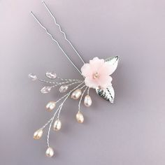 TEAGAN Bridal Hairpins Wedding Hair Pins Flower Hairpins Freshwater Pearl Hairpins Crystals Hair pin Clay Flower Hairpins Flower Hair Piece