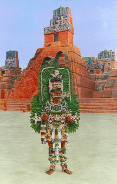 Jasaw Chan K'awiil I, Ruler A or Ah Cacao (Mayan ruler of Tikal, re-creaton), decorated with Quetzal feathers and traditional regalia (Guatemala, AD 682-734).