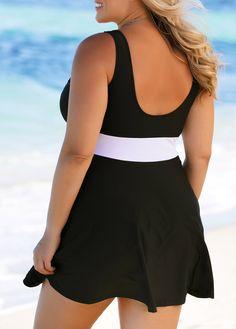 673ccfd1033 Scoop Back Black Plus Size Swimdress and Panty  Black