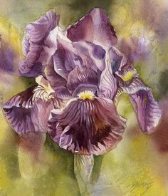 Iris In Purple Painting by Alfred Ng