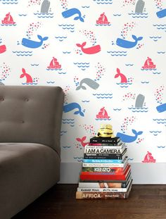 A charming take on sea patterns, Whalentine combines boats, whales and hearts to create a sweet atmosphere for the child that loves the aquatic life! Material: Screen-printed by hand on clay-coated, F