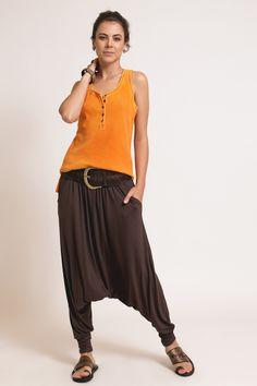 calça saruel / calça tecido / calça marrom / calça feminina / boho