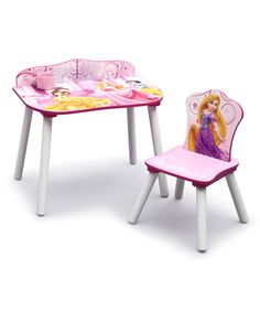 Delta Children's Products Disney Princess Desk & Chair includes desk, chair & removable cup holder. Weight capacity: 50 lbs. Desk [23.5'' W x 23.5'' H x 15'' D] Seat [10.25'' H] Medium-density fiberboard/wood. Scratch-resistant. Meets or exceeds all safety standards set by the CPSC. Assembly required. Ages 3 to 6 year $39.99