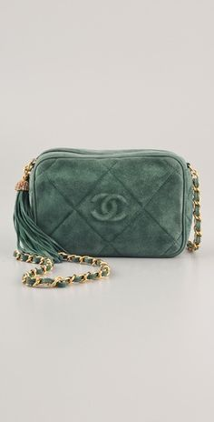 Vintage suede Chanel camera bag. Love the deep seafoam color.