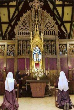 Catholic Nuns in adoration of Blessed Sacrament.