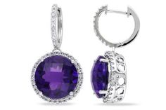 11 1/2 CT TGW Amethyst  And 1/2 CT  Diamond Cuff Earrings 14k White Gold GH I1