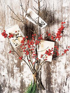 Rustic idea for displaying Christmas cards.