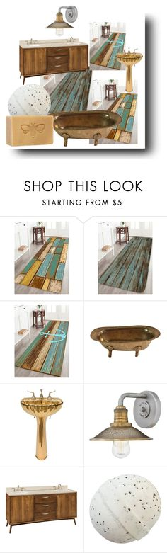 """Bath rugs"" by feralkind ❤ liked on Polyvore featuring interior, interiors, interior design, home, home decor, interior decorating, Hinkley Lighting and DutchCrafters"