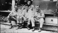 SOLOMON ISLANDS. Snapshot of John F. KENNEDY and the crew of the PT 109 taken by an unknown sailor. 1943.