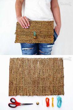Bolso de mano reciclando un mantel individual - Muy Ingenioso