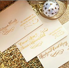 Christmas calligraphy envelopes underway for our client in good ink. #christmascards #calligraphy #christmascalligraphy #goldink #goldchristmas #lettering #unique #typelove #goodtype #typography #christmas #holidaycard #holidays #nationwidecalligraphy #nationwidecalligrapher #calligraphybyjennifer