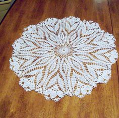 Lace Tablecloth Crocus Flower Doily by amydscrochet on Etsy, $37.00