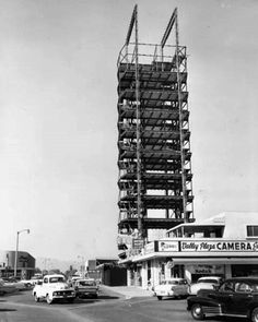 1959)*^*#- View of the LA Federal Savings and Loan Building under construction located near the Hollywood Freeway at Victory Boulevard adjacent to the Valley Plaza.