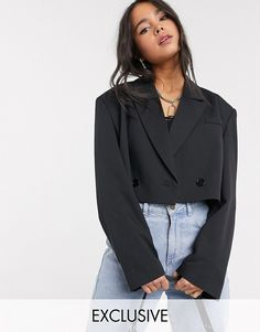 Blazer Outfits Casual, Crop Top Outfits, Blazer Fashion, Cute Casual Outfits, Chic Outfits, Fashion Outfits, Mode Kpop, Cropped Blazer, Style Casual