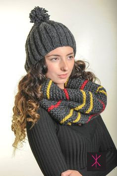 Chunky Charcoal  Warm and Cozy PomPom Hat. by KYSAA on Etsy, $35.00