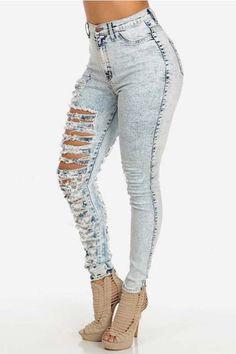High Waist Ripped Skinny Denim Pants