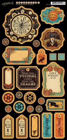 Graphic 45 Steampunk Spells Scrapbook Papers, Chipboards, Stamps and Stickers at superb prices. For a fully coordinated Graphic 45 experience. Papel Vintage, Vintage Tags, Vintage Labels, Graphic 45, Halloween Labels, Halloween Crafts, Halloween Printable, Decoupage, Imprimibles Halloween