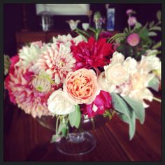 dahlias and garden roses