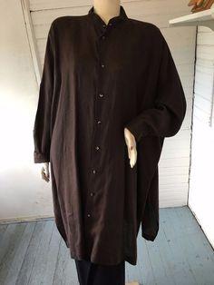 Eskandar 2 Brown Boxy100% Linen Minimalist Tunic Top or Dress Lagenlook UK OS #eskandar #Tunic #Versatile