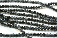 black and grey snowflake obsidian beads - black and white gemstone round beads - natural obsidian beads - 4-16mm round beads - 15 inch