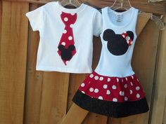 Mickey Mouse, Minnie Mouse BROTHER SISTER SET. Available 3mo through 7/8. Includes shirt and dress.. $47.95, via Etsy.