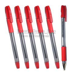 X6 PILOT Super Grip 1.0mm Medium Ball Point Pen - Red Ink - 6 Pcs #Pilot