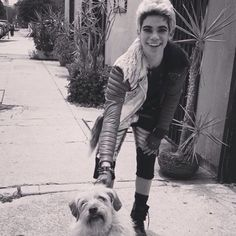 Look how sweet this is ! Cameron boyce with a dog is so cute ❤️❤️❤️