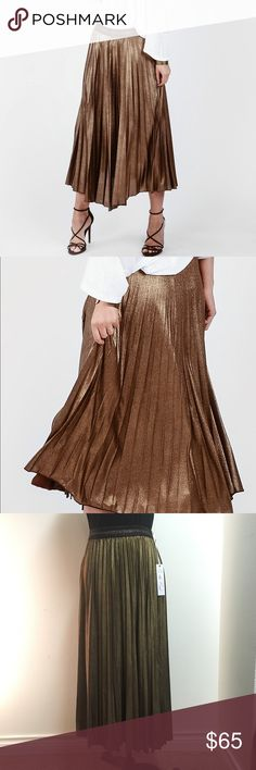 "YFB On The Road Metallic Skirt Gorgeous copper skirt by Young Fabulous and Broke's ""On the Road"" line. Fantastic party skirt!  🍷❄️  From a smoke-free, clean home! Young Fabulous & Broke Skirts Midi"