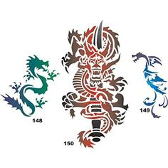 "Airbrush Temporary Tattoo Stencil Template Set 28 Dragons 150 Dragon with Dagger 6""x 9"", 148 5""x 6"",149 4""x 6"" >>> Continue to the product at the image link. (This is an affiliate link and I receive a commission for the sales) #TemporaryTattoos"